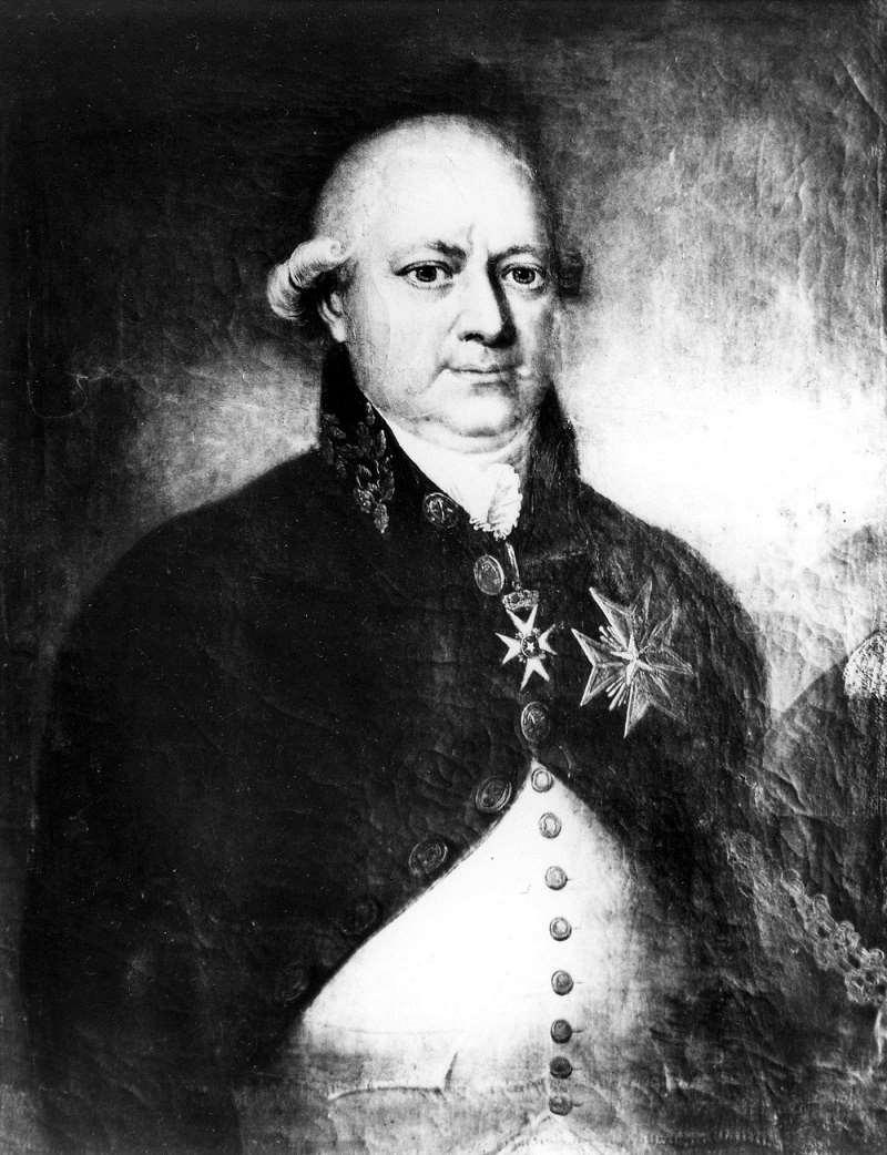 Målat porträtt (svartvit bild) av Johan Magnus af Nordin, landshövding i Kopparbergs län 1790-1812