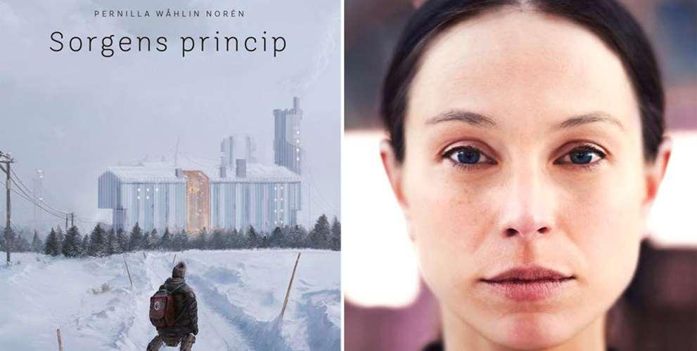 """Bild på framsidan av författaren Pernilla Wåhlin Noréns bok """"Sorgens princip"""". Även en bild av författaren i närbild. Hon har lila tröja med polokrage och mörkt hår som är uppsatt."""