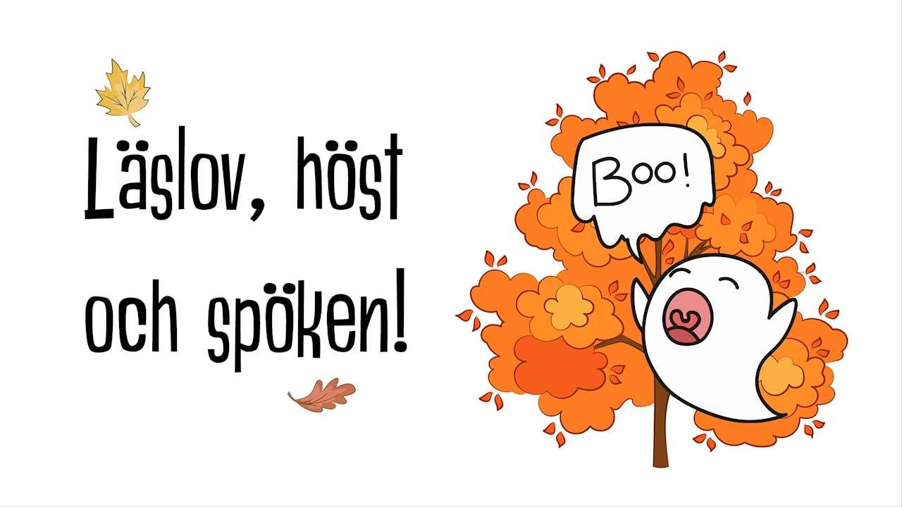 Ett höstigt orangead träd med ett spöke som säger Boo! framför. Text: Läslov, höst och spöken!